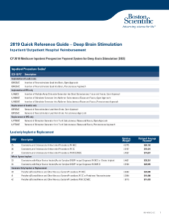 2019 Quick Reference Guide – Inpatient/Outpatient Hospital Reimbursement for Deep Brain Stimulation