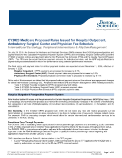 CY2020 Medicare Proposed Rules Issued for Hospital Outpatient, Ambulatory Surgical Center and Physician Fee Schedule
