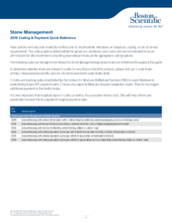 2019 Stone Management Coding and Payment Quick Reference Guide