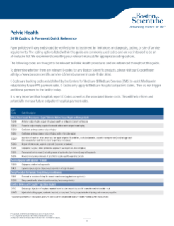 2019 Pelvic Health Coding and Payment Quick Reference Guide