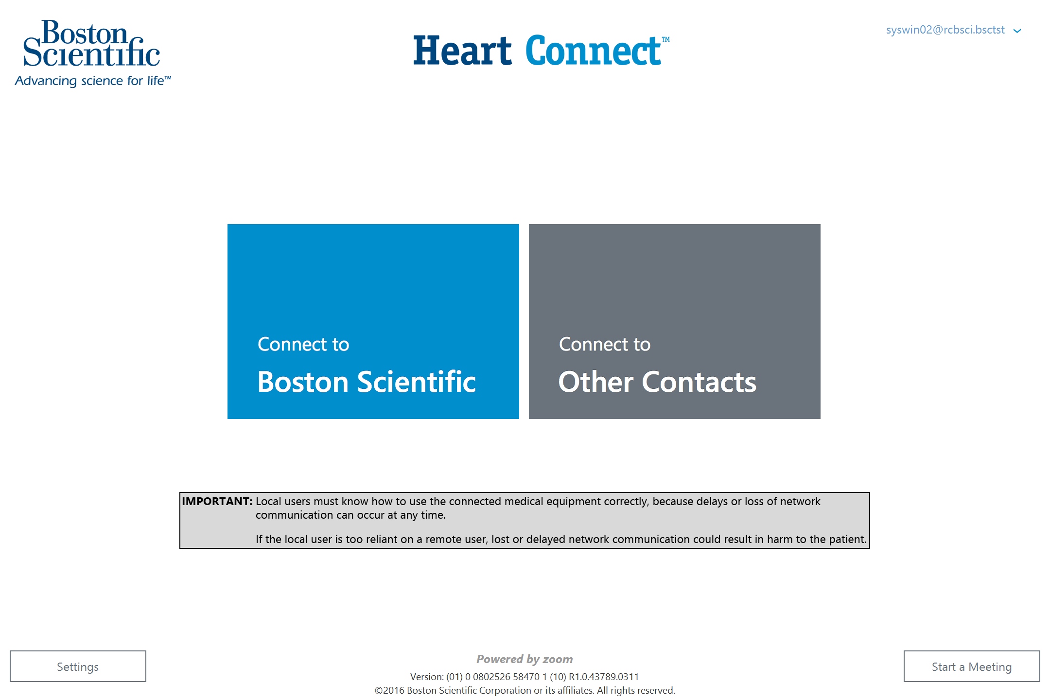 Heart Connect System Home Screen