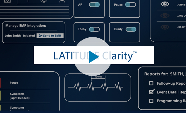 : Icons of the LATITUDE Clarity Data Management System with button to play the system overview video