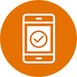 Orange icon of a mobile phone.