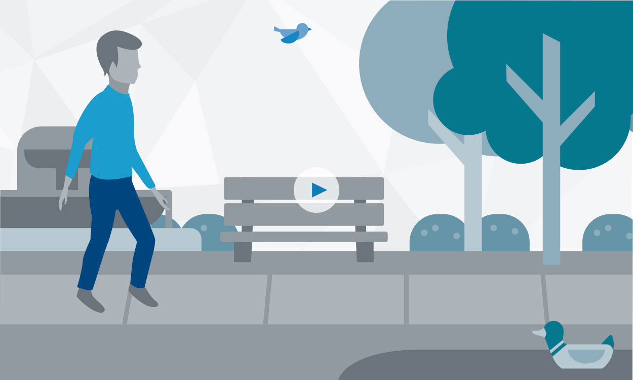 Illustration of a man walking in a park and a play button to watch an overview video about the LUX-Dx ICM System.