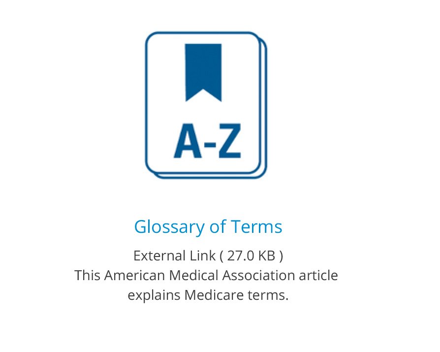 icon for glossary with link to AMA medicare terms