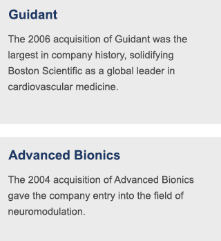 The 2006 acquisition of Guidant was the largest in company history, solidifying Boston Scientific as a global leader in cardiovascular medicine. | The 2004 acquisition of Advanced Bionics gave the company entry into the field of neuromodulation.