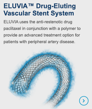 ELUVIA uses the anti-restenotic drug paclitaxel in conjunction with a polymer to provide an advanced treatment option for patients with peripheral artery disease.