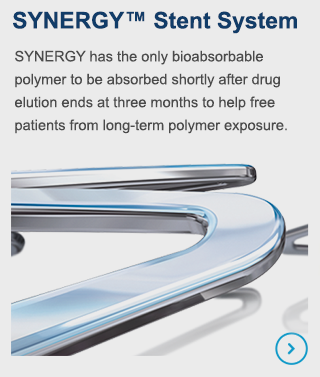 SYNERGY has the only bioabsorbable polymer to be absorbed shortly after drug elution ends at three months to help free patients from long-term polymer exposure.