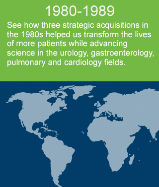 See how three strategic acquisitions in the 1980s helped us transform the lives of more patients while advancing science in the urology, gastroenterology, pulmonary and cardiology fields.