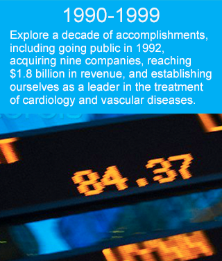 Explore a decade of accomplishments, including going public in 1992, acquiring nine companies, reaching $1.8 billion in revenue, and establishing ourselves as a leader in the treatment of cardiology and vascular diseases.