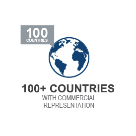 icon with 100+ countries with commercial representation