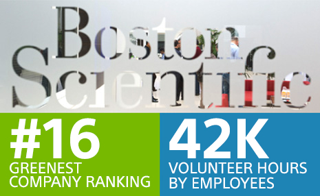 Icon showing #16 greenest company ranking and 42 thousand volunteer hours by employees