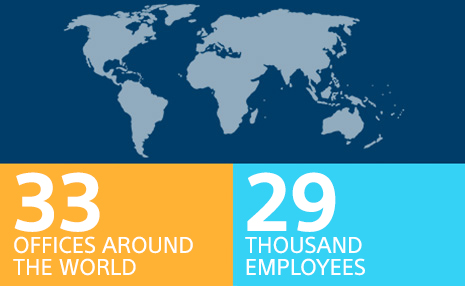 Image with icon showing 33 offices around the world and 29 thousand employees