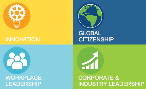 Icons showing innovation, global citizenship, workplace leadership, corporate & industry leadership
