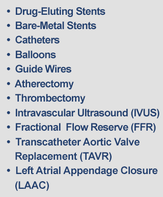 Drug-Eluting Stents, Bare-Metal Stents, Catheters, Balloons, Guide Wires, Atherectomy, Thrombectomy, Intravascular Ultrasound (IVUS), Fractional Flow Reserve (FFR)