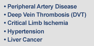 Peripheral Artery Disease, Deep Vein Thrombosis (DVT), Critical Limb Ischemia, Hypertension, Liver Cancer