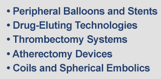 Peripheral Balloons and Stents, Drug-Eluting Technologies, Thrombectomy Systems, Atherectomy Devices, Coils and Spherical Embolics