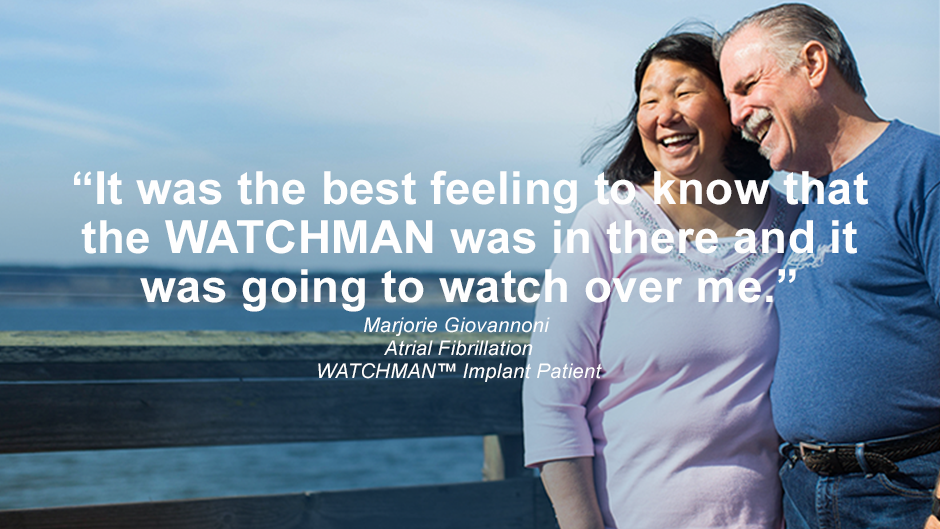 Image of Patient Marjorie with her husband smiling at the beach. Watch Marjorie's story
