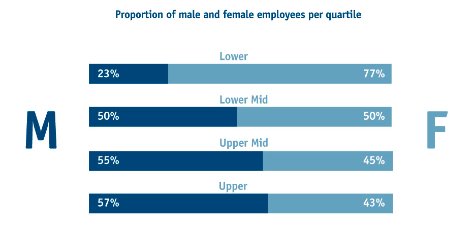 Proportion of males and females in each quartile band