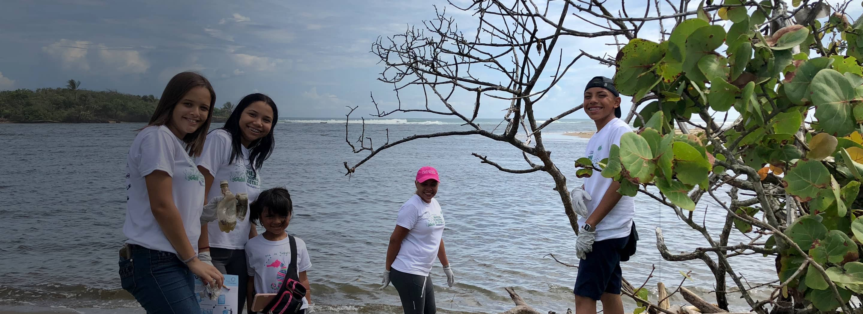 Volunteers working to clean a beachfront