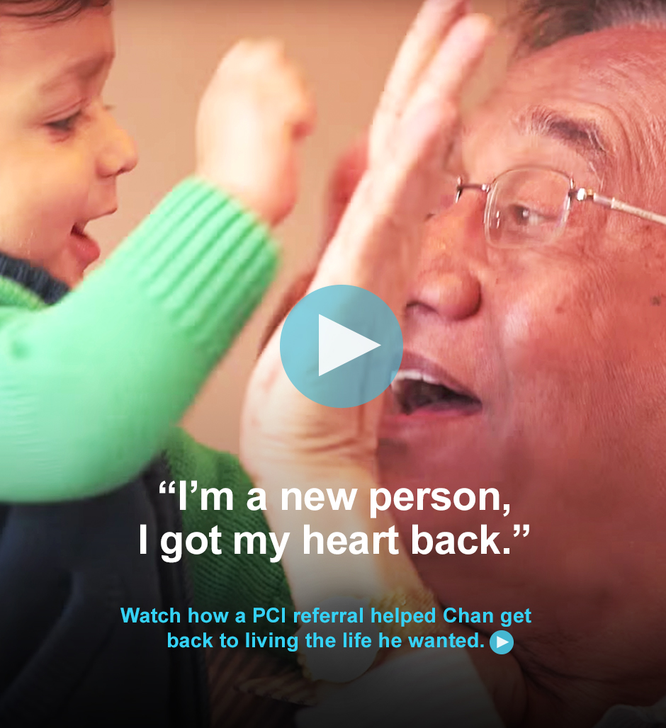 Watch how a percutaneous coronary intervention (PCI) referral helped Chan get back to living the life he wanted.