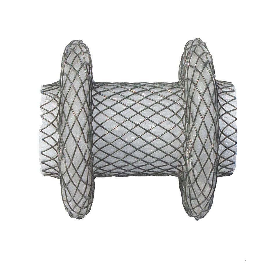 The AXIOS  Stent has two large flanges to hold the tissue layers together.