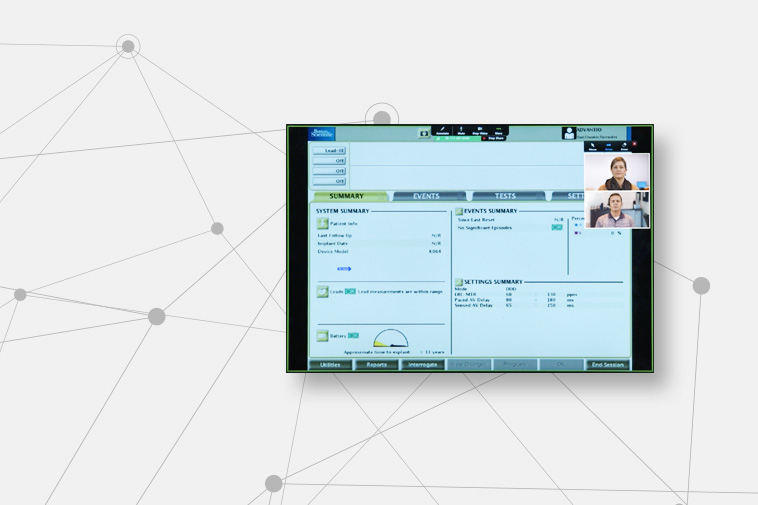 Screen showing a real-time meeting using the Heart Connect System.