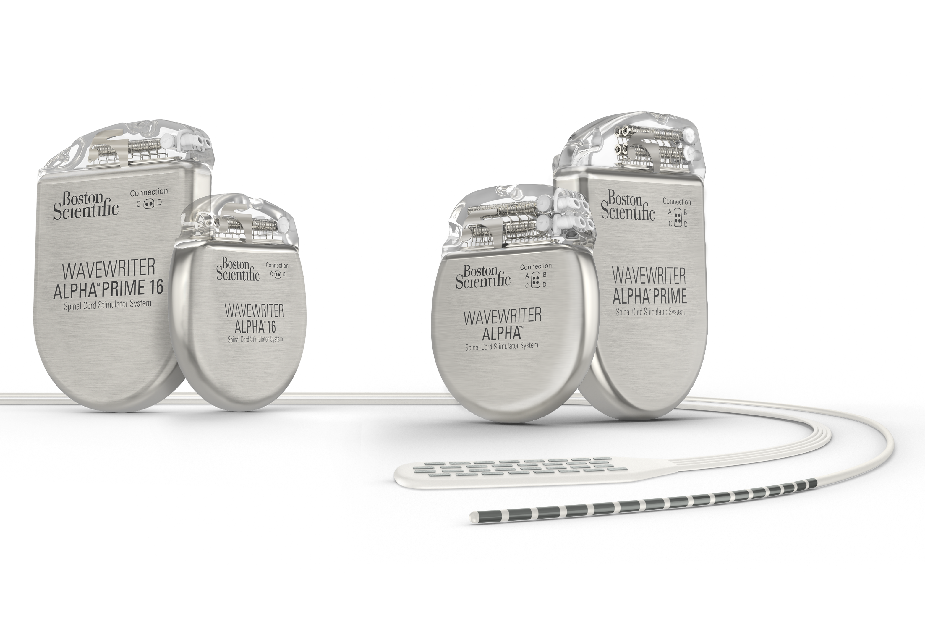 Four WaveWriter Alpha spinal cord stimulator systems