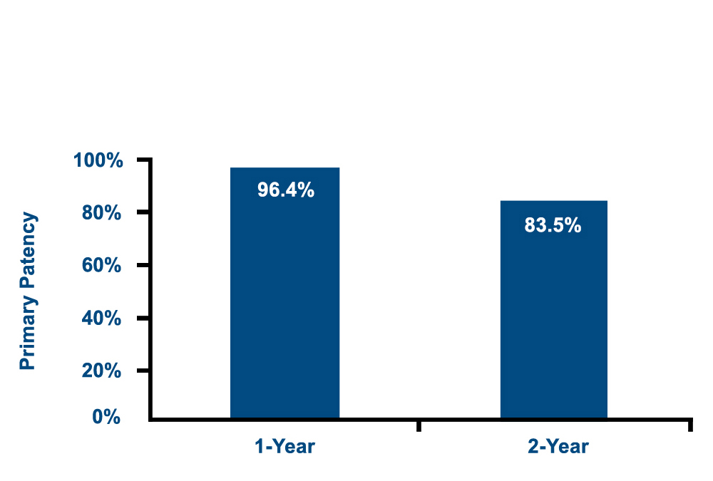 Chart showing the MAJESTIC 2-year primary patency rate for the Eluvia Drug-Eluting Vascular Stent System is 83.5%.