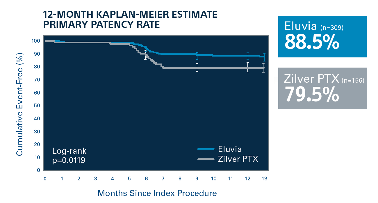 Kaplan-Meier Primary Patency Rate: 12-Month Results chart