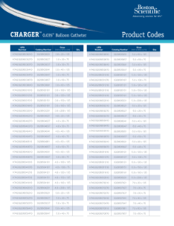 Charger Product Code Sheet