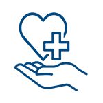hand holding heart and medical cross icon.