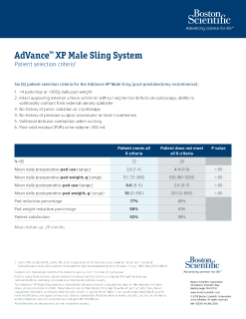 AdVance™ XP Patient Selection Criteria