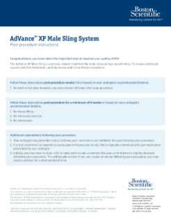 AdVance™ XP Post-Procedure Instructions