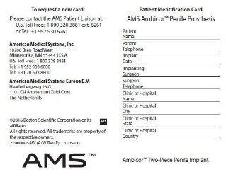 AMS 800™ Urinary Control System Patient Identification Card