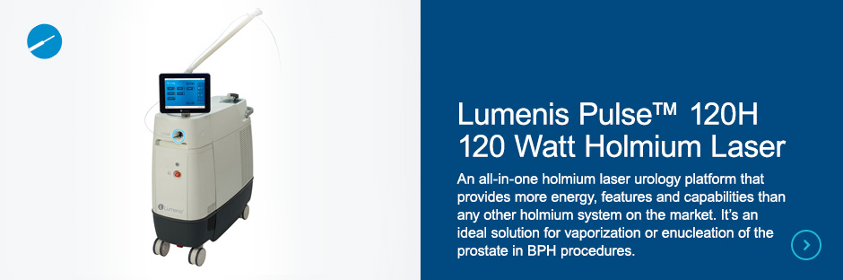 Lumenis Pulse™ 120H 120 Watt Holmium Laser An all-in-one holmium laser urology platform that provides more energy, features and capabilities than any other holmium system on the market. It's an ideal solution for vaporization or enucleation of the prostate in BPH procedures.