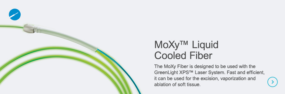 MoXy™ Liquid Cooled Fiber The MoXy Fiber is designed to be used with the GreenLight XPS™ Laser System. Fast and efficient, it can be used for the excision, vaporization and ablation of soft tissue.