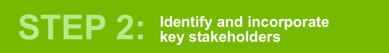 Step 2: Identify and incorporate key stakeholders