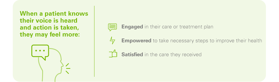 When a patient knows their voice is heard and action is taken, they may feel more:  -	Engaged in their care or treatment plan -	Empowered to take necessary steps to improve their health  -	Satisfied in the care they received