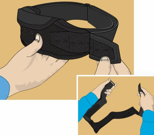 Illustration of how to put on the belt