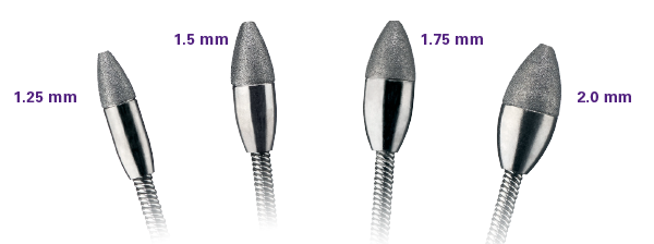Multiple burr size options help to achieve desired burr/artery ratio