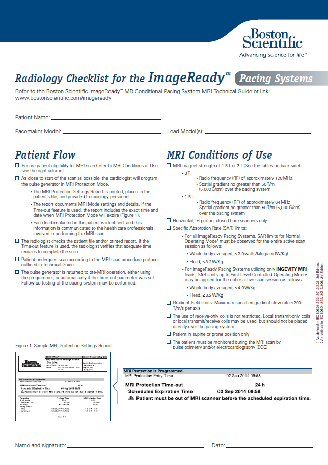 ImageReady™ Checklists (Pacemaker System)