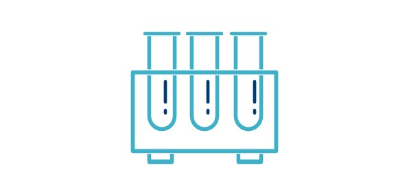 Icon of three test tubes in a stand.