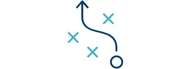Icon of an arrow navigating through three Xs.