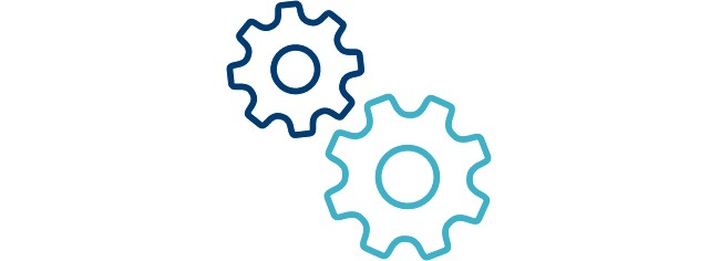Icon of two interlocking cogs.