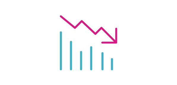 : Icon of a bar chart with decreasing values and an arrow pointing down.