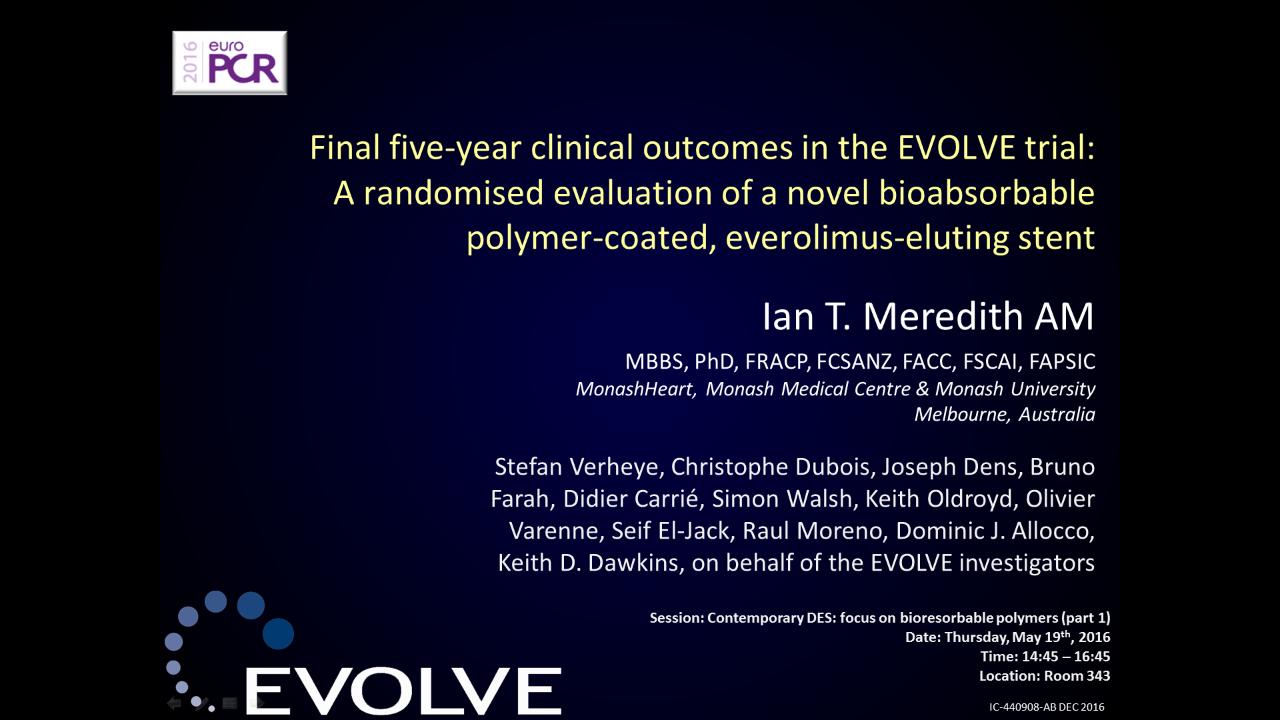 EVOLVE FHU 5-Year: Meredith EuroPCR 2016