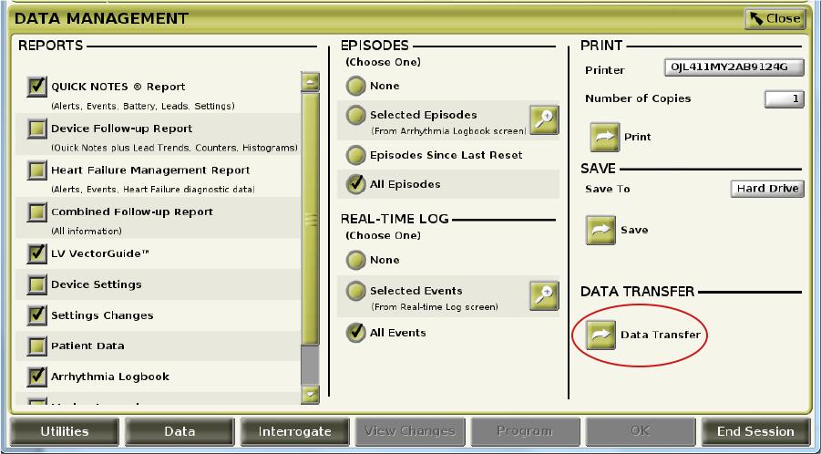 Data Management Screen