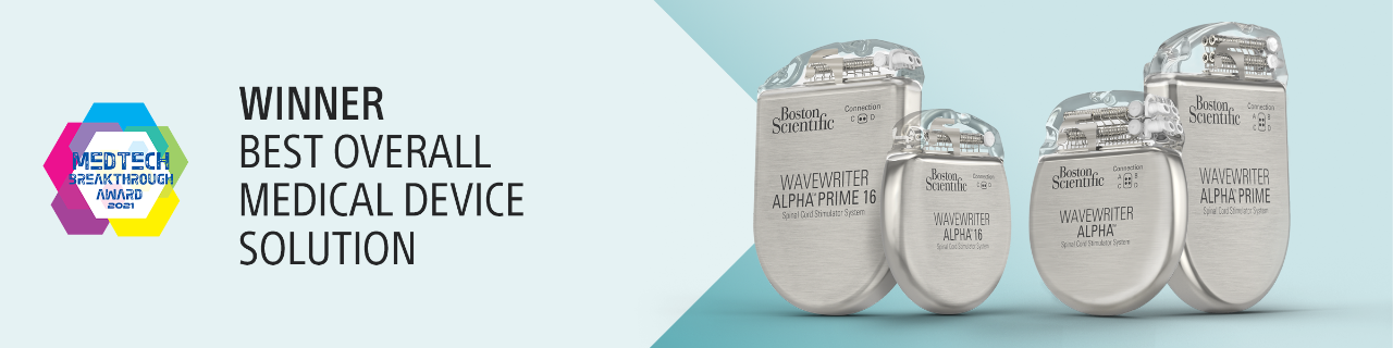 MedTech Breakthrough Award 2021. Winner. The WaveWriter Alpha SCS System wins Best Overall Medical Solution Award.