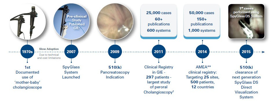 Graphical timeline representing the history of cholangioscopy